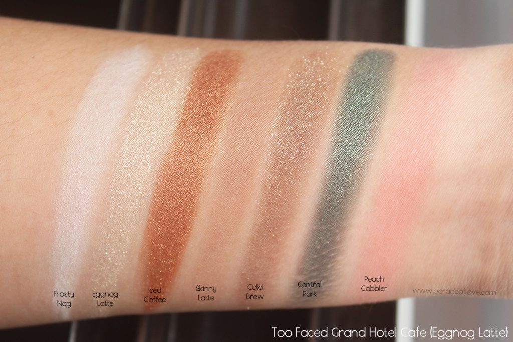 too-faced-grand-hotel-cafe-eggnog-latte-swatches